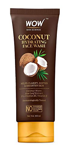 WOW Skin Science Coconut Hydrating Face Wash with Coconut Water, Aloe Leaf Extract – For Clarifying, Softening & Brightening Skin – For Dry/Normal Skin – No Parabens, Sulphate, Silicones & Color – 100 ml