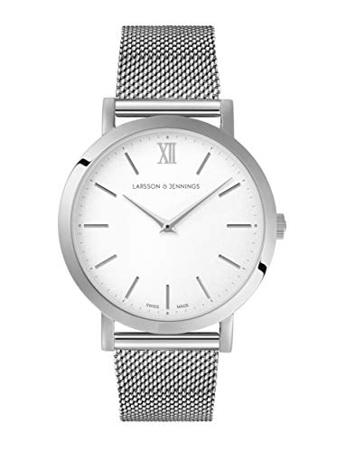 Larsson & Jennings LJXII Lugano Unisex Hombres & Mujer Relojes with 33mm Satin White dial and Silver Stainless Steel Strap LX33-MSV-SW.