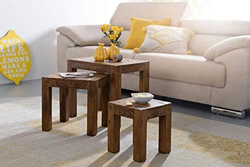 KADIMA DESIGN IABMUM - Juego de 3 mesas nido (madera maciza Sheesham, estilo rústico), color marrón oscuro