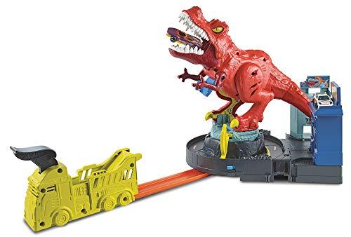 Hot Wheels City T-Rex en Furie, coffret de jeu pour petites voitures à connecter avec circuit et pistes, jouet pour enfant, GFH88
