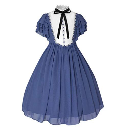 LOPILY Kleider Damen mit Rüschen Ärmel Prinzessin Kleid Mittelalter Vintage Retro Midikleid für Kostüme Party Erwachsenenkostüme Damen Karneval Halloween (Blau, 34)