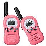 FLOUREON Walkie Talkies, 2 Pack para Niños 3.3KM Rango de 8 Canales, Radio de 2 vías con Pantalla LCD para Hogar/Actividad de Interior o al Aire Libre (Rosa)