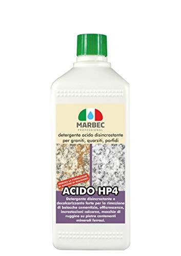 Marbec - ACIDO HP4 1LT | Detergente disincrostante forte specifico per graniti, quarziti, porfidi, scisti cristallini.