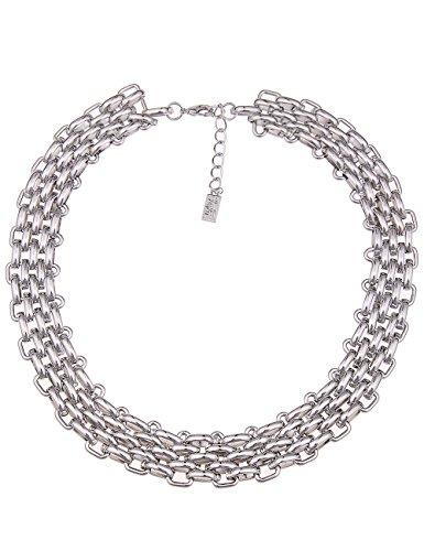 Leslii Damen Kette, Kurze Breite Statement Kette in Hochglanz silber, Modeschmuck Collier Gliederkette Kurze Halskette Dreireihig, 47cm