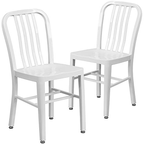 Flash Furniture Commercial Grade 2 Pack White Metal Indoor-Outdoor Chair