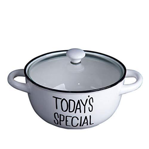 Bol en porcelaine Nouilles instantanées bol en céramique avec couvercle nouilles instantanées grand bol à soupe simple mode blanc