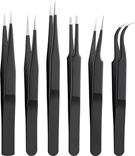 Goobay 41256 Pinces à épiler avec pinces à épiler en acier inoxydable, pinces à pointe, pinces croisées et antistatiques