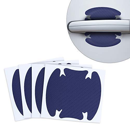kwmobile 4X Universal Auto Türgriff Lackschutzfolie - selbstklebend - Carbon Schutzfolie Griffmulden Blau - 8,6 x 9,4 cm