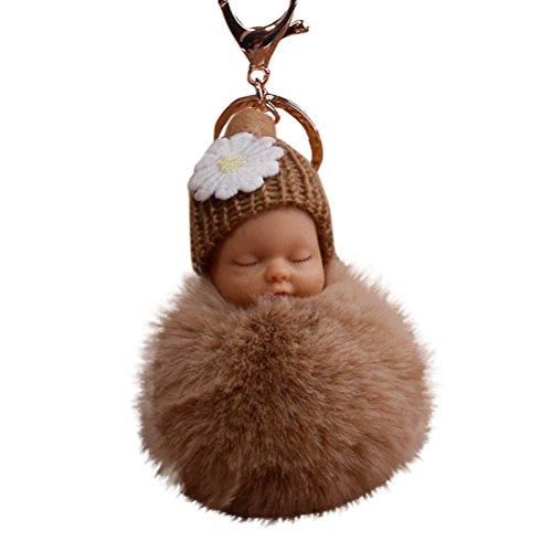 Gaddrt 8 cm süßes Fell flauschig schlafende Baby-Puppe, Schlüsselanhänger, Taschenanhänger, Anhänger, Khaki