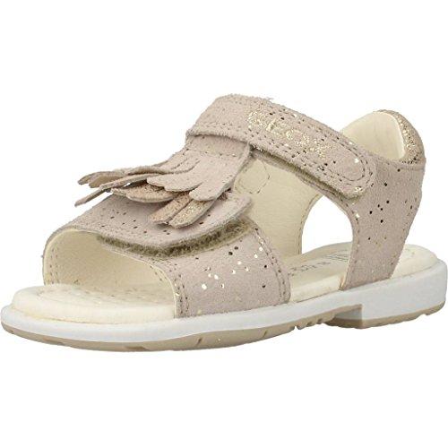 Geox Jungen Mädchen VERRED Girl 13 Leather Sparkle DUAL Straps, Gold, 25 EU/8.5 M US Toddler Flache Sandale, Beige/goldfarben