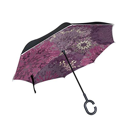 Mnsruu Double Couche inversé parapluies Motif Mandala Violet Pliant Parapluie Coupe-Vent Protection UV pour Une Utilisation de Voiture Pluie en Plein air avec poignée en Forme de C
