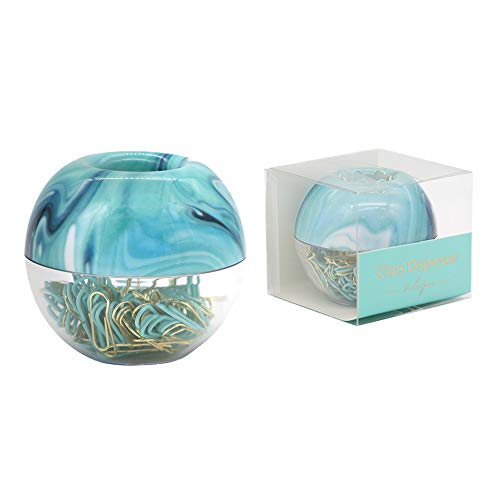MEI YI TIAN 100pcs Gold Mint Green Paper Clips Medium Ocean Blue Paperclips Holder Built-in Magnetic Ring Dispenser for Desk Organizer Accessories Gift (Blue)