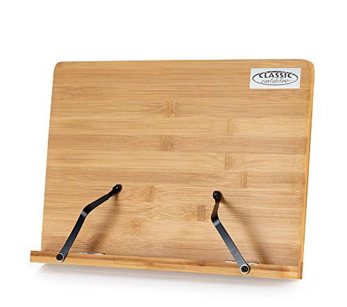Classic Cantabile Tischnotenpult Bambus klein - Größe Ablagefläche: 33,3 cm x 22,3 cm - Notenklemmen zum Fixieren von Notenblättern - Neigungswinkel in fünf Schritten verstellbar