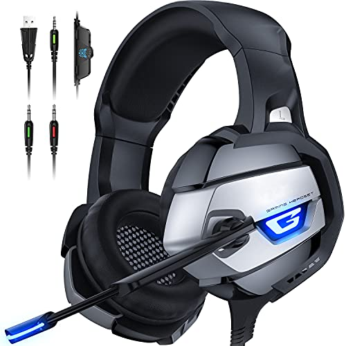 FEIYING Gaming Headset, Wired Gaming Headphone with 360° Adustable Noise Canceling Microphone, Led Light and Over Ear Memory Earmuff for PS4, PS5, PC, Xbox One (Adapter Not Included