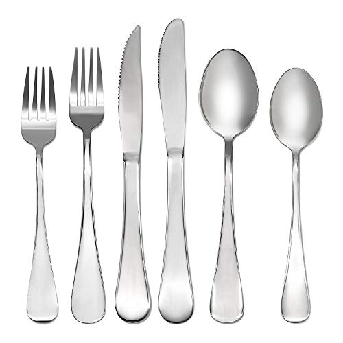 Silverware Set, 24-Piece Stainless Steel Flatware Cutlery Set for 4,Include Forks/Knives/Spoons, Mirror Polished, Dishwasher Safe