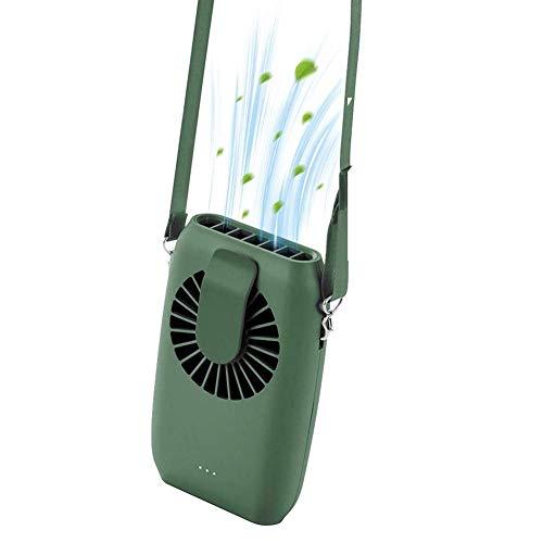 Elekpopu Mini USB Ventilator mit Powerbank Funktion, Hand Ventilator, Taillenventilator, Hängender Halsfächer (Grün)