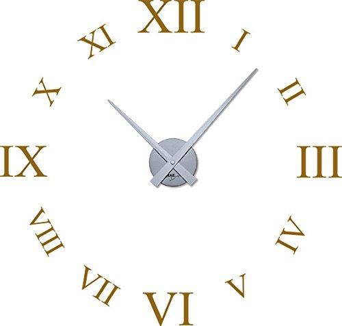 GRAZDesign wandtattoo klok met spreuk voor de woonkamer Romeinse cijfers - buitengewone wandklokken groot uurwerk / 800378 Uhrwerk silber 092, koper