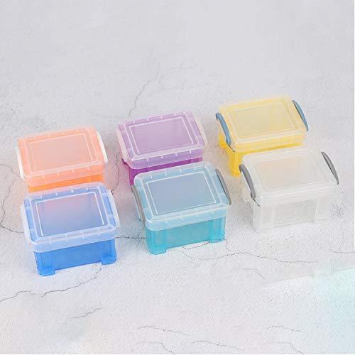 Wohlstand 6 Mini Cajas de Plástico Apilables para Almacenar Tapas con Cierre de Broche de Cajas Rectangular para Cuentas Pequeñas Pequeñas Multicolor 8.5 * 6.5 * 5cm para Coche Oficina y Cocina