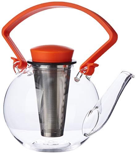 QDO Glazen theepot met Clip Handvat & RVS Filter-Oranje