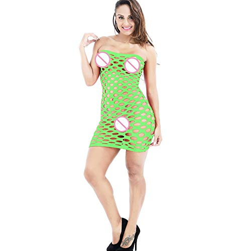 LeftSuper Belleza Vestido de lencería Sexy Falda de Malla con Agujeros súper Grandes Productos de lencería Sexual para Mujeres Vestido de Cuerpo Hueco