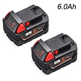 2Packs 18V 6.0Ah M18 Lithium Replacement for Milwaukee M18 Battery M18B 48-11-1820 48-11-185048-11-1828 48-11-10 m18 Cordless Power Tools Batteries