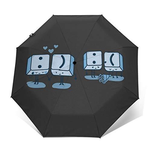 Teclado Keys Emoji Resistente al Viento Compacto Auto Abrir y Cerrar Paraguas Plegable, automático Plegable Parasol de Viaje Paraguas
