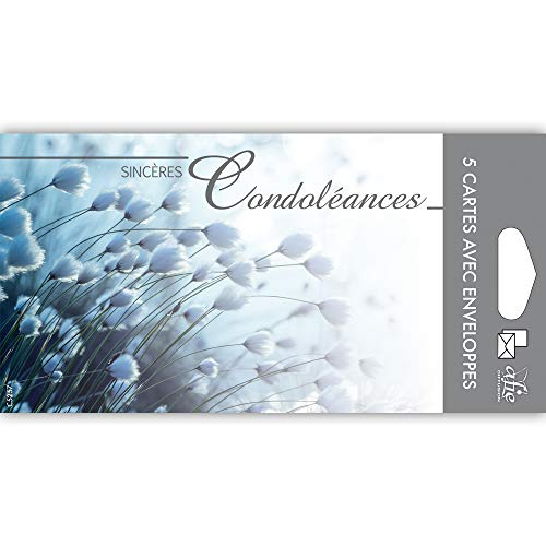 Afie C5257 Pochette de 5 Cartes Sincères Condoléances Nos pensées affectueuses vous soutiennent dans l'epreuve feuilles Décès Deuil Fabriqué en France