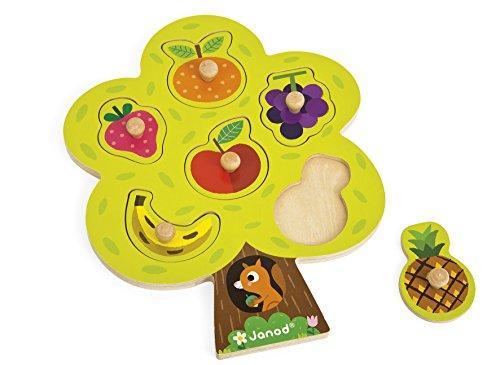 Janod   J07061   Puzle de madera de 6 piezas encajables con clavija de madera con diseño de árbol frutal para niños pequeños a partir de 18 meses