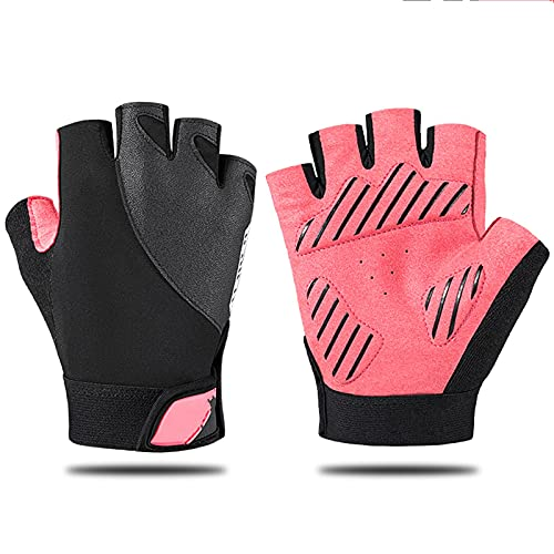 JTXQSI Summer Half Fingers Gloves Bicycle Cycling Fingerless Thickening Pads Breathable With Thumb Towels Cycling Equipment (Color : Pink, Size : M)