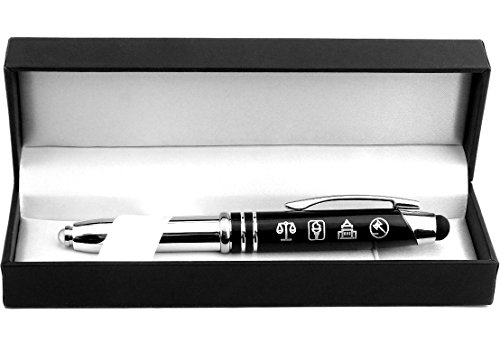 Symbols of Law and Justice - Gift Pen with Light and Stylus Tip - Gift for Lawyers, Law Students, Paralegals, Judges, Government Officials, Police Officers