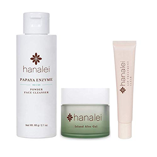 Hanalei Papaya Powder Face Cleanser, Island Aloe Gel, and Lip Treatment (Clear) Bundle, Made with Papaya Enzyme, Hawaiian Noni, Aloe Vera, and Kukui Nut Oil (Cruelty free, Paraben free)