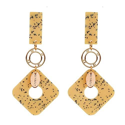 ZNYH Pendientes Reloj Cuadrados de aleación Pendientes acrílicos Pendientes artesanales Mujer Amarillo