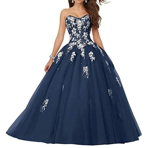 Vantexi Damen Spitze Tüll A-Linie Ballkleid Lang Abendkleider Brautkleider Quinceanera Kleider Marineblau Größe 40