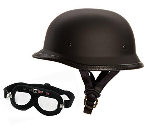 Redbike Oldschool Helm mit Fliegerbrille - Motorradhelm - Wehrmachtshelm - Halbhelm - Halbschalenhelm (XXL, Mit Brille)