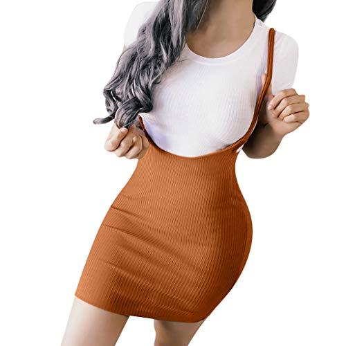 UYSDF Fashion Kleidung Damen Sommer Mode Suspendiert Kleider charmant Geschlossen Taille Rein Farbig Kleider
