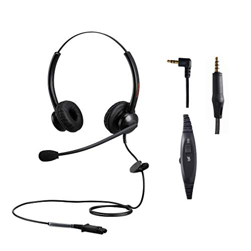 Telephone Headset 2.5mm for Office Call Center with Noise Cancelling Mic for DECT Cordless Phone Yealin Cisco Polycom Panasonic w Extra 3.5mm jack for iPhone Samsung HTC BlackBerry Mac Android Tablets