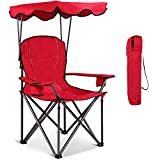 Goplus Outdoor Canopy Chair, Heavy Duty Camping Chair Durable Folding Seat w/Cup Holder and Carry Bag (Red)