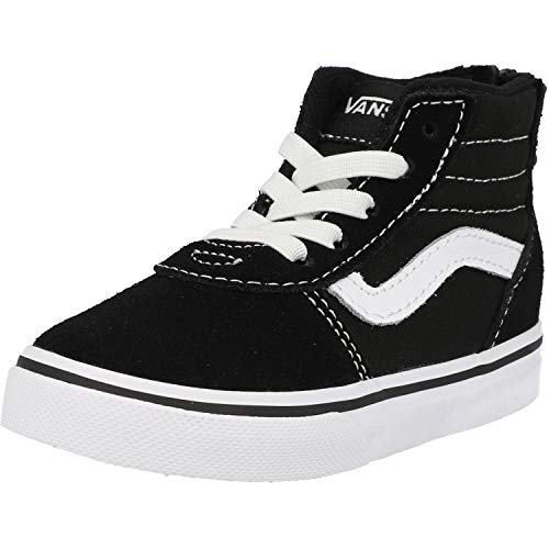 Vans Unisex Kinder Ward HI Zip Sneaker, Schwarz ((Suede Canvas) Black/White Car), 25.5 EU