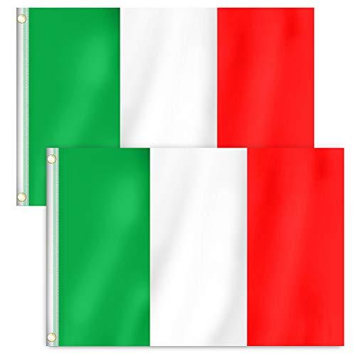 RYMALL 2 Stück 90 x 150 cm Italien Flagge,Italien Fahne,Fanartikel,Italy National Flag,National Flag Bundes und Länderflagge aus wetterfestem Material mit Metallösen (IT 90 x 150 cm)