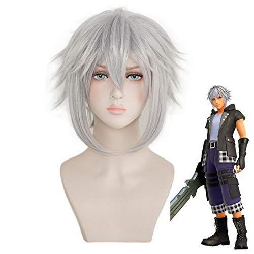 Ankunft Halloween Kostüm Kingdom Hearts Riku Cosplay Perücke Kurz Silber Grau Rollenspiel Kunsthaar