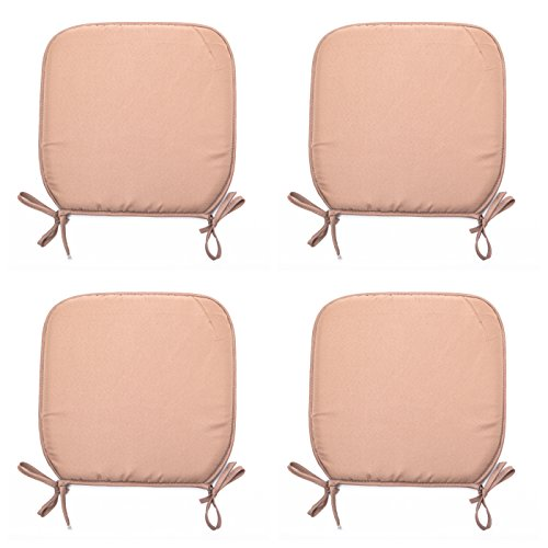 Set Of 4 Beautiful REMOVABLE Dining Garden Chair Cushion Seat Pads With Ties (Brown)