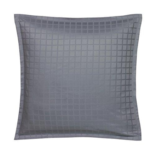 Blanc des Vosges Taie carrée Palace Ardoise 65 x 65 cm - Satin jacquard 100% coton
