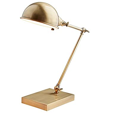 Stone & Beam Vintage Task Lamp With Bulb, 14 H, Antiqued Brass