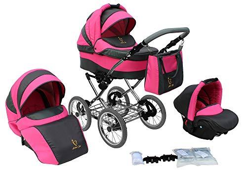 Lux4kids Retro Stroller Classica 3in1 2in1 Isofix neumáticos, ruedas de radios, cromo Pink 02 Silla de auto 4 en 1 + ISOFIX