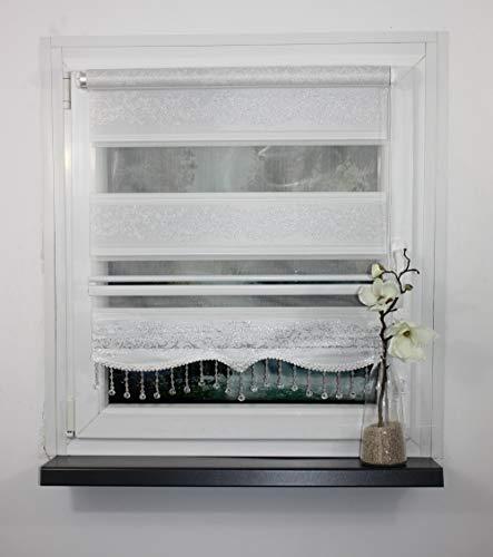 Storperde24 Doppelrollo Klemmfix Duo Rollo ohne Bohren Seitenzug mit Klemmträger Tür Fenster (Silber Ranken, 100x200 cm)