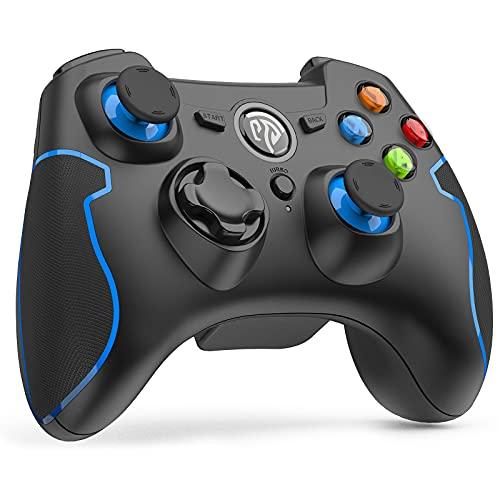 EasySMX 無線ゲームパッド PS3/PC/Androidに対応 振動連射設定 パソコンゲームコントローラー(ブラック+ブルー)