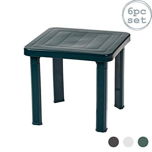 Resol Tables d'appoint Andorra - pour Maison/Jardin/Patio - Plastique - Vert - 47 x 47 cm - Lot de 6