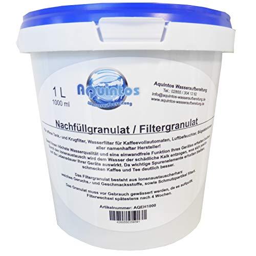 1 L Aquintos AQEH1000 Nachfüllgranulat - Filtergranulat - Ionenaustauscherharz - für offene Krug- und Tankfilter / alle Namhaften Kaffeemaschinen Hersteller / Tischwasserfilter / Bügelstationen / Luftbefeuchter / Wasserfilter / Filterpatronen / Filterkartuschen / Refill-Kartuschen / Nachfüllkartuschen / Kaffeemaschinenfilter
