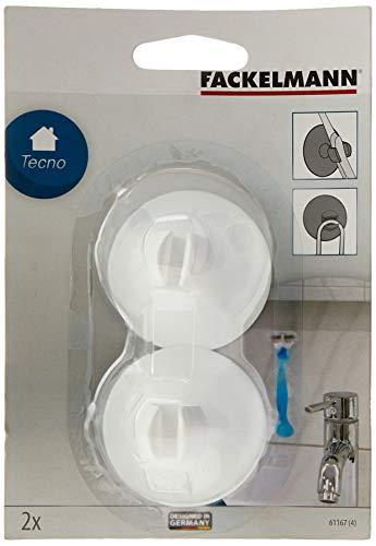 Fackelmann Zahnbürstenhalter mit Saugnapf TECNO, Universalsaughalter aus Kunststoff, Saughaken (Farbe: Transparent, Blau, Schwarz, Weiß - nicht frei wählbar), Menge: 2 Stück