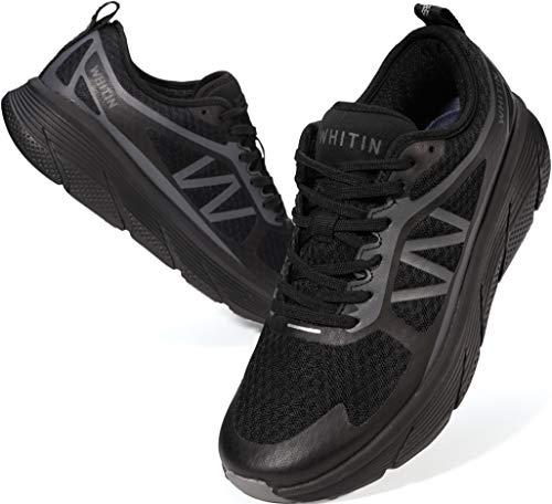 WHITIN Laufschuhe Herren Sportschuhe Straßenlaufschuhe Sneaker Wanderschuhe Turnschuhe Walkingschuhe Fitness Schuhe schnürer rutschfeste Running Dämpfung Atmungsaktiv Schwarz 47 EU